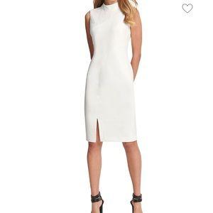 DKNY Lace Combo Mock Neck Sheath Dress